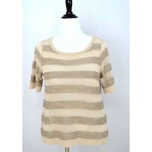 ANN TAYLOR LOFT Gold Sand Sequin Sheer SWEATER